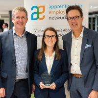 Apprentice of the Year Award Winner Katrina Palmer with Rob Birch and Vaz Juchima